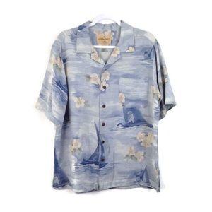 Havana Jacks Cafe Silk Sailboat Button Up Shirt
